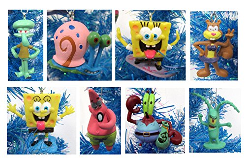 Unique SpongeBob SquarePants 8 Piece Holiday Christmas Tree Ornament Set Featuring Squidward, Sandy Cheeks, Patrick Star, Mr. Krabs, Plankton, Gary and More (Tree Sponge)