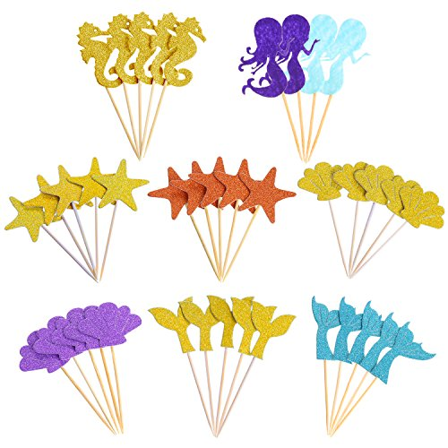 Mtlee 39 Pieces Glitter Mermaid Theme Cupcake Toppers for Baby Shower Birthday Party, Including Mermaid, Seahorse, Seashell, Fishtail, Starfish (Glitter Seashells)