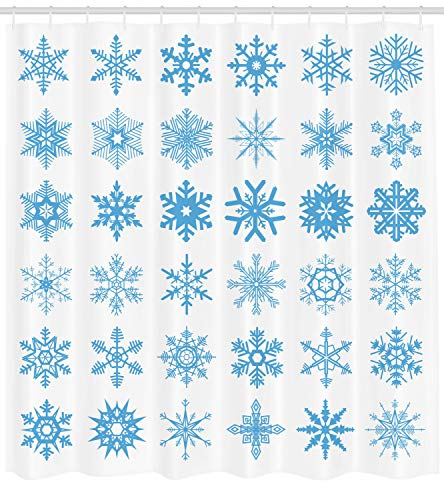 Lunarable Snowflake Shower Curtain, Freeze Snow Winter New Years Eve Christmas Pattern Symmetric Print, Fabric Bathroom Decor Set with Hooks, 105 Inches Extra Wide, Deep Sky Blue and White
