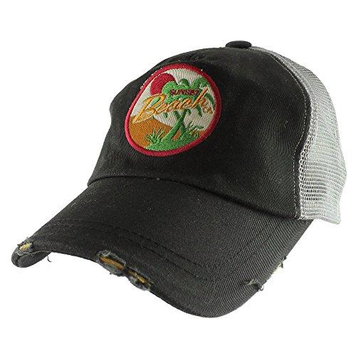 Baseball Cap Set (Sunset Beach Vintage Mesh Casual Baseball Cap Adjustable Hat -)