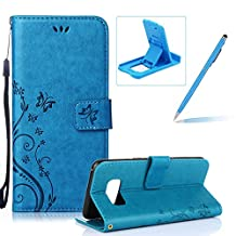 Wallet Leather Case for Galaxy S8 Plus,Book Style Pu Leather Case for Galaxy S8 Plus,Herzzer Retro Butterfly Flower Pattern Flip Fold Pouch Case with Card Holders Stand Magnetic Case