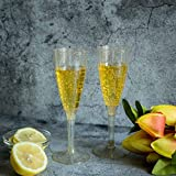 Efavormart 60 Pcs 4oz Gold Glittered Clear Plastic Disposable Champagne Toast Flutes for Wedding Party Events