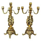 20'' French Late Baroque Rococo Style Ornate Pan Figures 5 Tapers Candelabra Pair