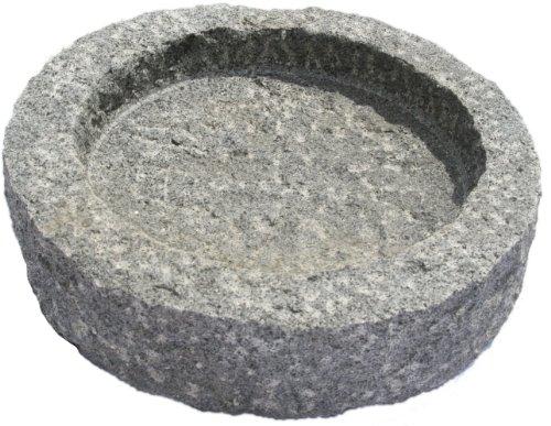 NVA Creative Garden Granite 3040035 Round Bird Bath, Grey/Black