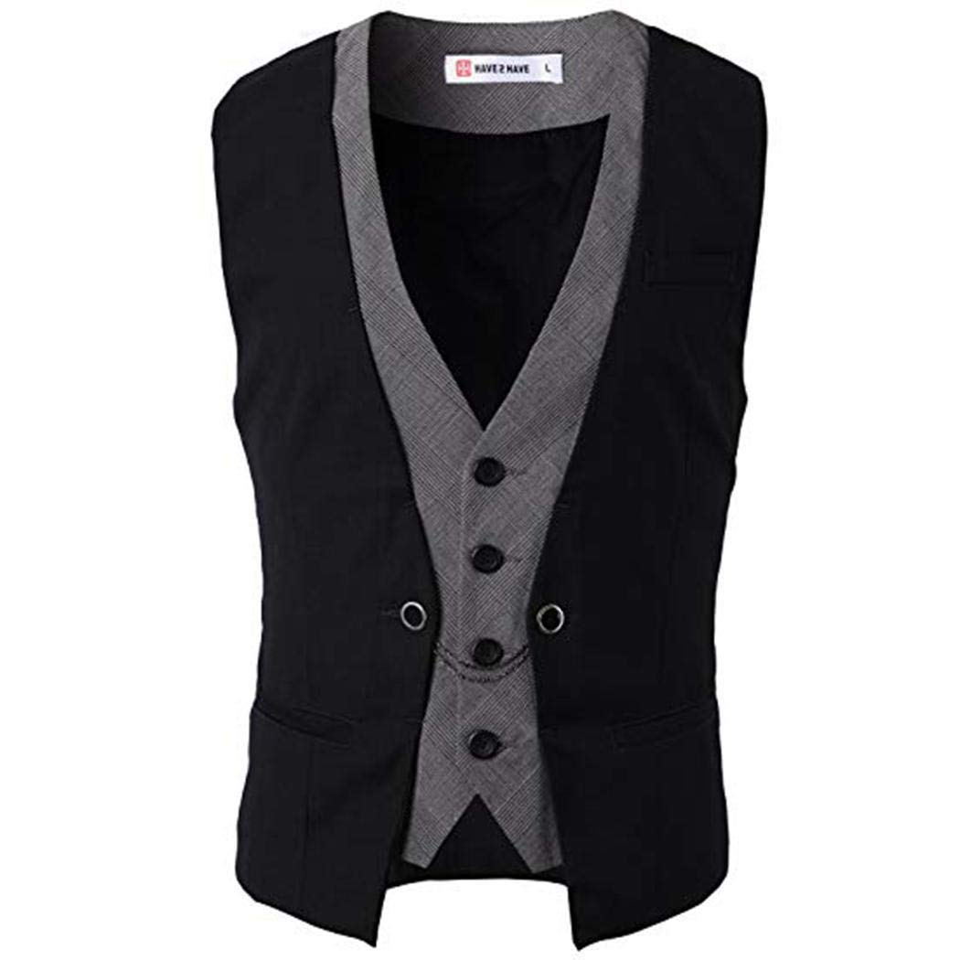 Kaimu Mens Formal Slim Fit Premium Business Dress Suit Button Down Vests