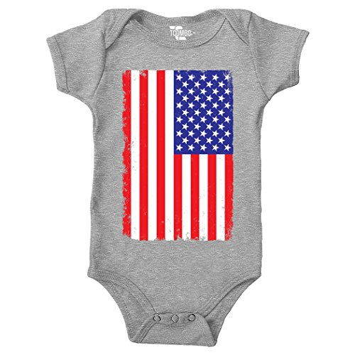 Tcombo Big Distressed American Flag Bodysuit (6M, Light Gray) Cotton Distressed Onesie