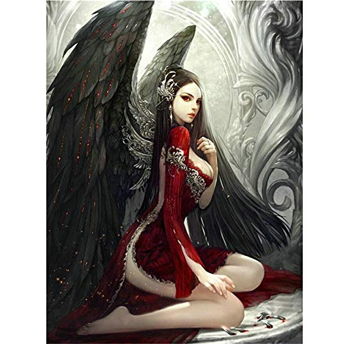 DIY Diamond Painting Kits for Adults - Fallen Angel Full Drill 5D Diamond Painting Cross Stitch Kit DIY Diamond Embroidery Crystal Paint with -