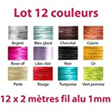 Lot 12 couleurs x 2 mètres de fil aluminium 1mm