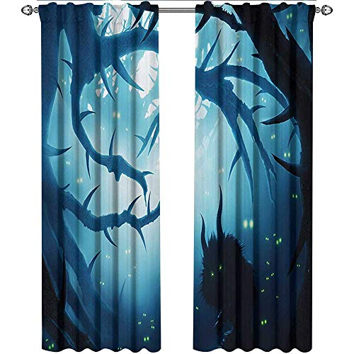 Mystic, Curtains Blackout 2 Panels, Animal with Burning Eyes in The Dark Forest at Night Horror Halloween Illustration, Curtains for Living Room, W84 x L84 Inch, Navy White]()
