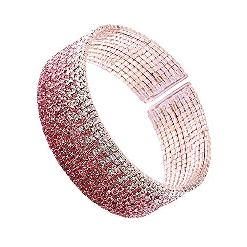 (huiphong Fashion Rhinestone Bracelet for Women Clear Cuff Crystal Plating Silver Rose Gold Gift Bracelets of Luxury Shining Jewelry(Pink-S/M-10 Lines))