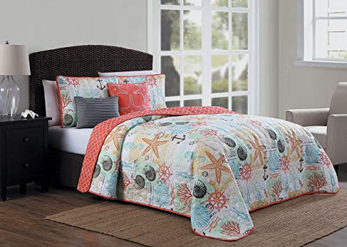 Avondale Manor Belize 5-Piece Quilt Set, Queen, Coral