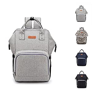 Karleksliv Baby Diaper Backpack Multi-Function Travel Nappy Bag Large Baby Nursing Bag, Fashion Mummy, Roomy Waterproof for Baby Care,Upgrade style with Charging socket for phone and ipad (grey)