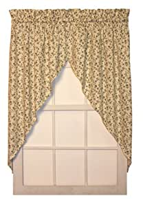 marcia floral print swags jabot curtains pair 68 inch by 63 inch blue green. Black Bedroom Furniture Sets. Home Design Ideas