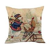 Merry Christmas Throw Pillow Cases Pgojuni Cushion Cover Cotton Linen Pillow Cover 1pc 45cmx45cm (G)