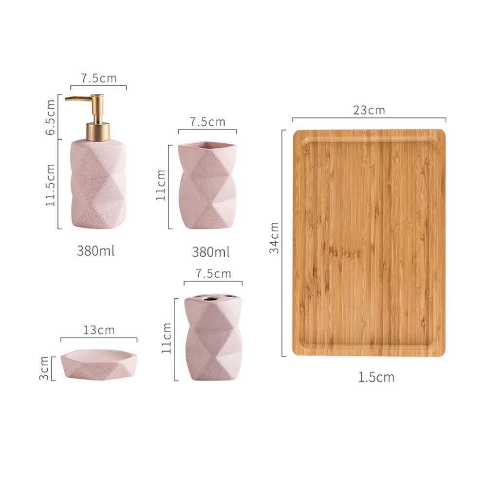 Porta Spazzolini da Denti LOHOX 6-Pezzi Solo Set di Accessori da Bagno Set Motivo a Diamante Accessori per Il Bagno Corpo-Bottiglie Pallet di bamb/ù Dentu-Bicchiere Porta Sapone