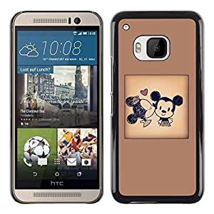 LOVE FOR HTC One M9 Mouse Cartoon Kiss Poster Ears Brown Personalized Design Custom DIY Case Cover