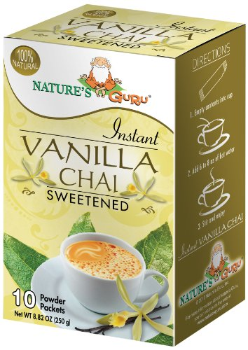 Nature's Guru Instant Vanilla Chai Tea Drink Mix, Sweetened, 10 Count Single Serve On-the-Go Drink Packets ()