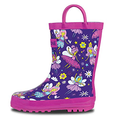 LONECONE Rain Boots with Easy-On Handles in Fun Patterns for Toddlers and Kids, Bippity Boppity Fairy Boots, 4 Toddler]()