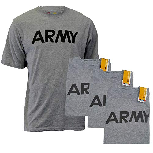 - AMS Mens U.S. Army P/T Physical Training T-Shirt, Heather Gray with Reflective Lettering (3, Small)