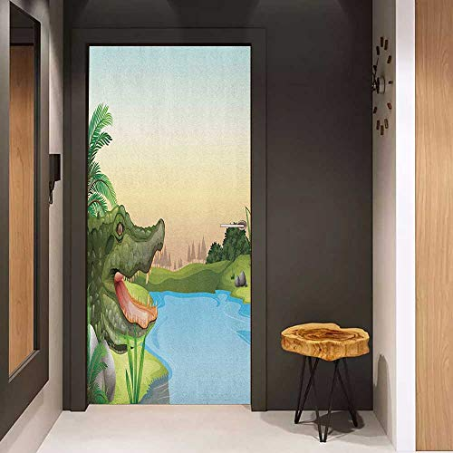 Onefzc Door Wall Sticker Reptile Illustration of Exotic Crocodile at The River with Palm Trees Humor Summer Design Mural Wallpaper W23 x H70 Green Blue