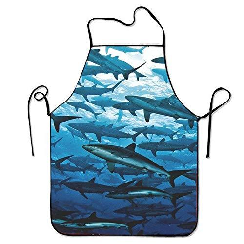 FFR EGM HAQSK CUFD Individuality Terrorist Shark Aprons Printed Apron for,Comfortable and Beautiful
