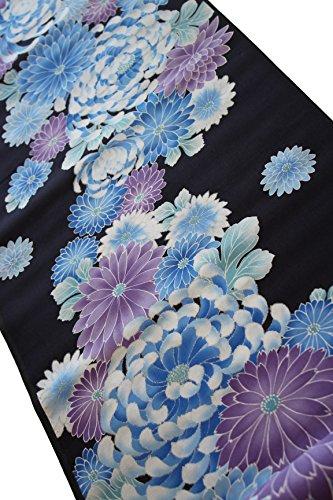 出発知覚的に同意する浴衣 反物 教材用 女性用 ゆかた美人 乱菊柄 黒 平織 綿 日本製