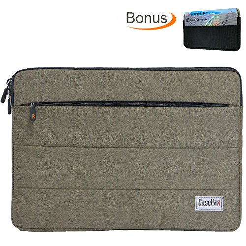 Casepax 13.3-Inch Slim Padded Laptop Sleeve Carrying Case Computer Bag with Accessories Pocket and BONUS RFID Card Holder for Notebook Chromebook MacBook Air Pro iPad Pro Tablet, SL-12769A-13S Brown