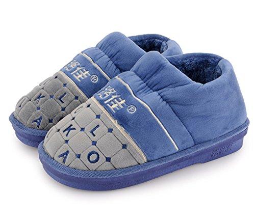 LaxBa Femmes Hommes chauds dhiver Chaussons peluche antiglisse intérieur Cotton-Padded,Bleu Chaussures Slipper 42-43 (40-41 pieds)