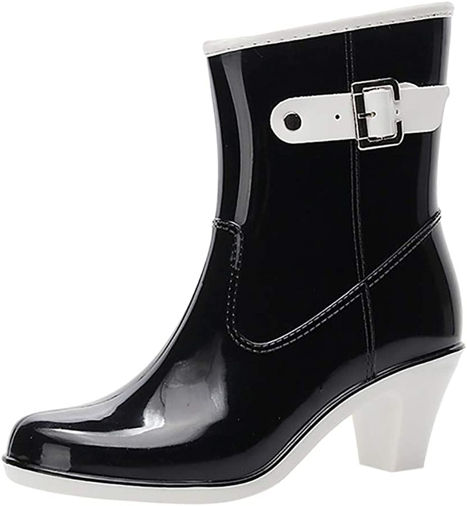 Riou Botas de Agua Mujer Lluvia Altas Zapato Impermeables Estilo Punk Botas Antideslizantes Hebilla Lateral Zapatos de Agua de Tacón Alto Plataforma Bota Corta