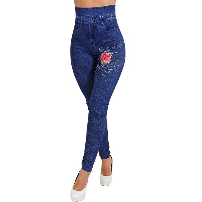 Damen High Waist Leggings Jeans Optik Hose mit Strass Glitzer Steine