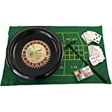 YH Poker 16-Inch Deluxe Roulette Game Set with 1 Roulette Wheel,120 Chips, 2 Roulette Balls, Mini Roulette Felt(18X30 in), 2 Decks of Playing Cards, 1 Roulette Rake