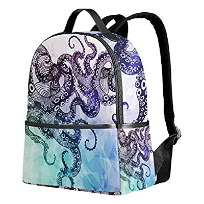 cf4aaa43eb lovely ALAZA Abstract Octopus Hipster Polyester Backpack School Travel Bag