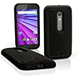 iGadgitz Black and Black Hard PC Back Shell Cover & Silicone Bumper Case for Motorola Moto X Play XT1562 + Screen Protector
