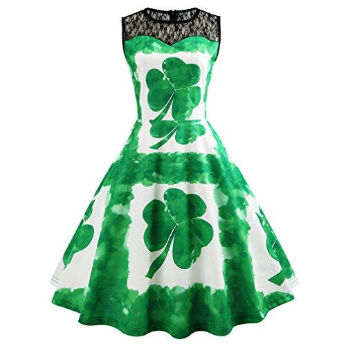 Clover Dresses 2018 St. Patricks Day Vintage Dress 1950's Elegant Dress Vintage Party Tea Dress Belt Printed Dresses for Women (L, Clover1) -