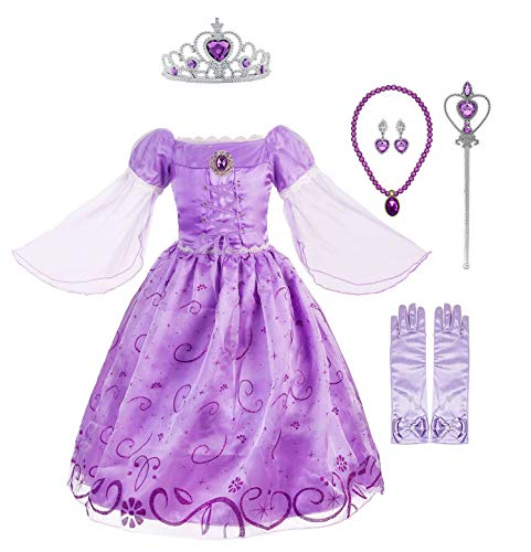 Okidokiyo Little Girls Princess Rapunzel Costume Mesh Sleeve Party Dress (Purple with Accessories, 7)]()
