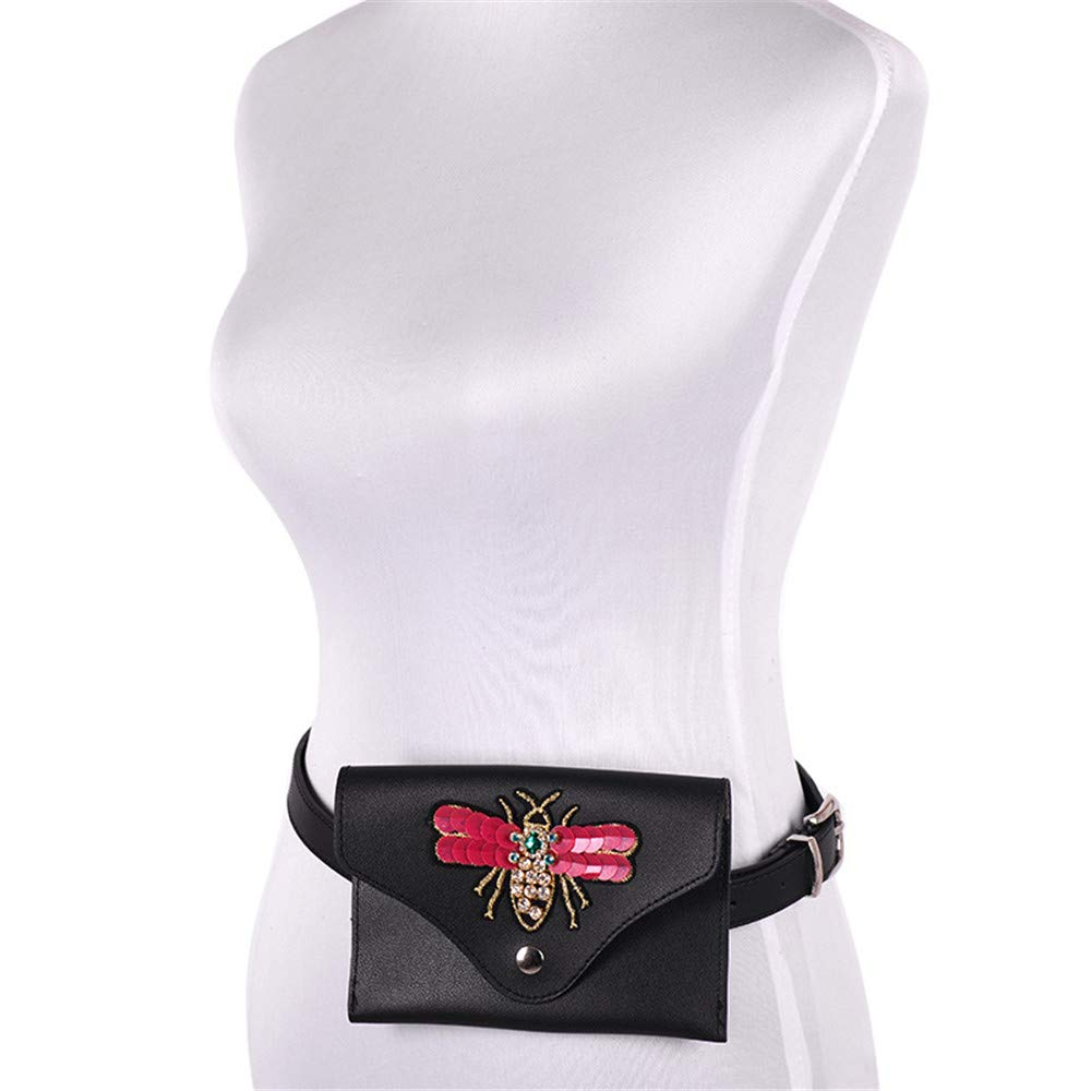 Color : Red Elegant Belt Small Women Waist Bag Belt Bag Rhinestone Bee PU Leather Fanny Pack Removable Belt with Waist Pouch Mini Purse Wallet Travel Cell Phone Bag Simple Ladies Belt