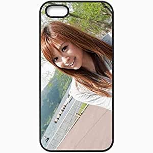 Personalized iPhone 5 5S Cell phone Case/Cover Skin Asian Face Smile Brunette Hair Black