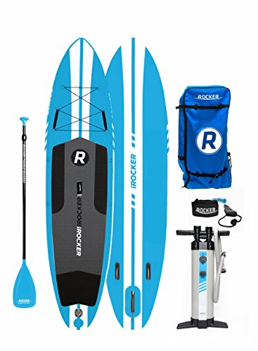 Irocker All Around Inflatable Stand Up Paddle Board 11 Long 32  Wide 6  Thick Sup Package  Blue 2018