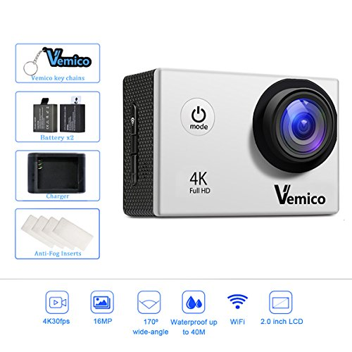 Vemico 4k Action Camera Wi-Fi Waterproof 16MP 1080p Full HD 2.0'' Screen Sports Helmet Cam with Free Mounting Accessories and 1050mAh Battery for Bikes Motorbike Snorkeling(Silver)