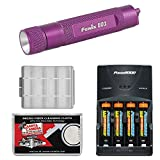 Fenix E01 LED Waterproof Mini Torch Flashlight (Purple) with 4 AAA Rechargeable Batteries & Charger + Case + Cleaning Cloth