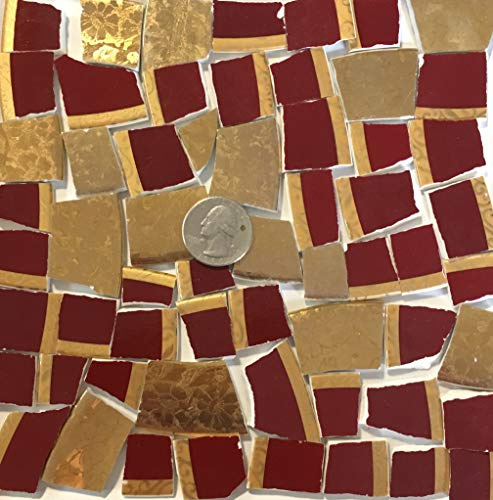 (Mosaic Art & Crafts Supply ~ Rich Red & Gold China Rim Tiles (B380))