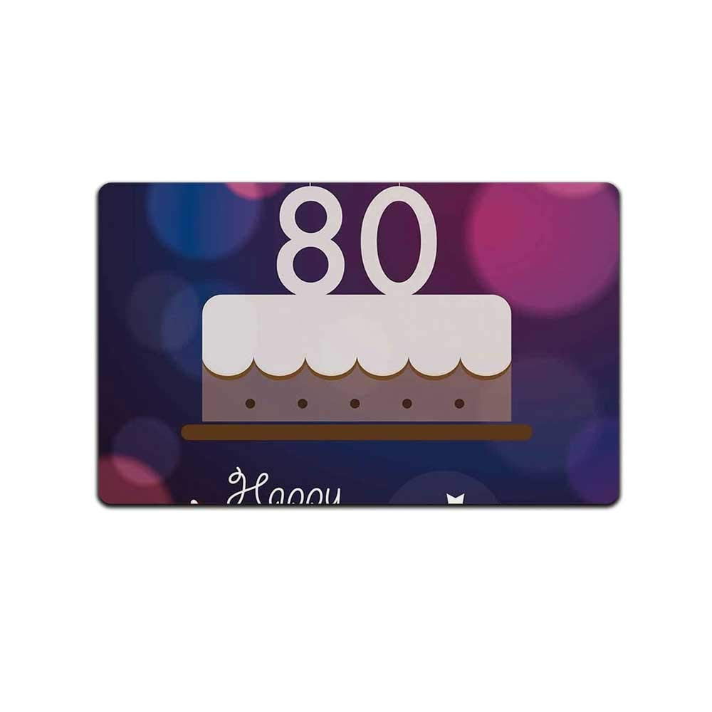 YOLIYANA 80th Birthday Decorations Decorative Doormat,Abstract Backdrop with Birthday Party Cake and Candles for Bathroom,31'' Lx19 W