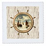 3D Rose Image of Ships Wheel with Sailboats on Aged Wood Quilt Square 12 by 12 Inch, 12 x 12