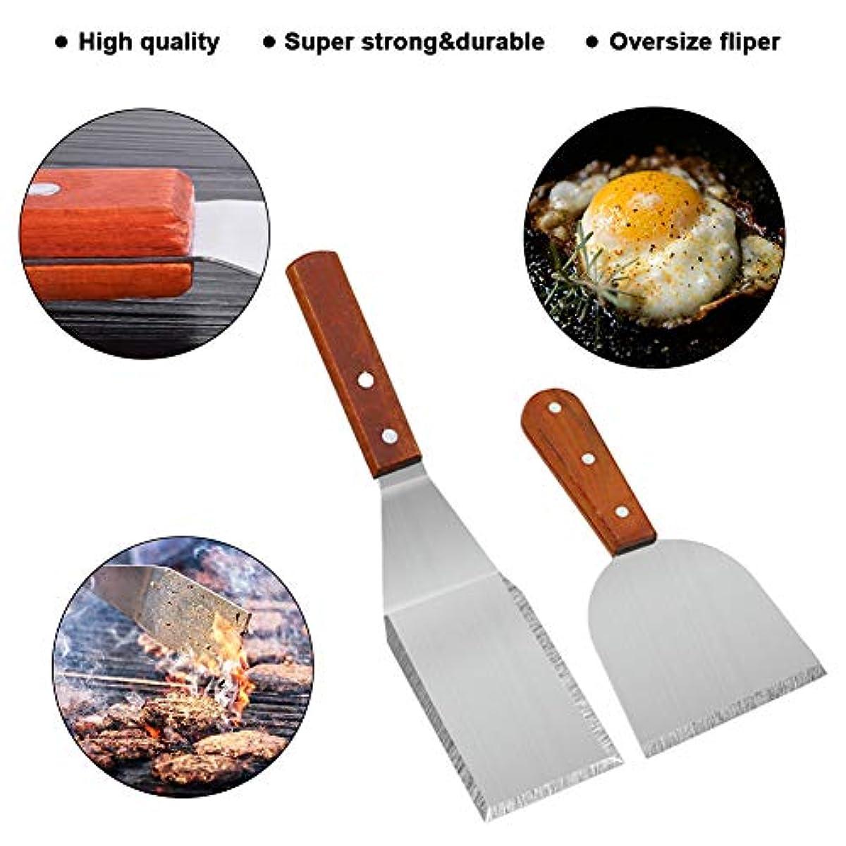 8 Stück Schwerer E MAIKEHIGH Grillspachtel Plancha Kit Edelstahl Grillbesteck