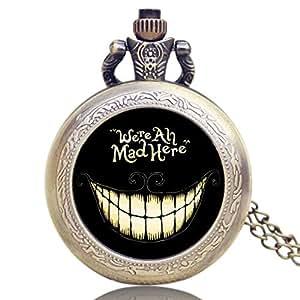 Reloj de Bolsillo Vintage, Bronce Alicia en el país de Las Maravillas, Collar de