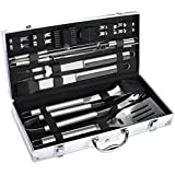 FYLINA BBQ Grilling Set 21-Piece Upgraded Stainless Steel Utensils Barbecue Tools Grill Accessories with Aluminum Storage Case - Perfect Outdoor Grilling Kit
