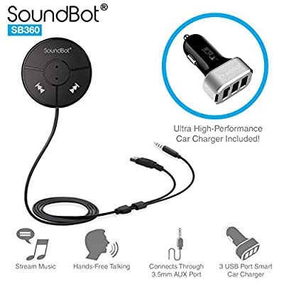 SoundBot SB360 Bluetooth 4.0 Car Kit Hands-Free Wireless Talking & Music Streaming Dongle w/ 10W Dual Port 2.1A USB Charger + Magnetic Mounts + Built-in 3.5mm Aux Cable by soundbot