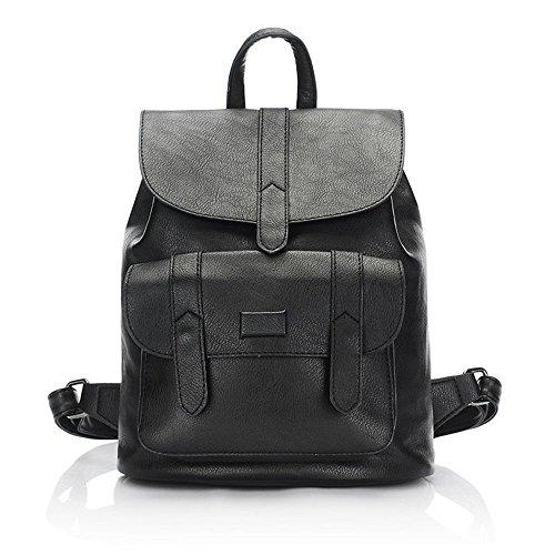 2018 Fashion women leather backpack for teengaers girls famous designer cute school bags ladies female backpacks 01 black 23x13x29cm