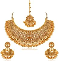 Apara Bridal Gold Plated Pearl LCT Stones Necklace Set For W