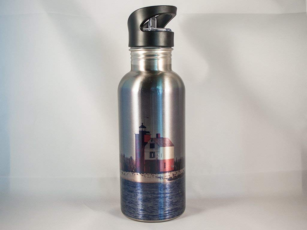 Round Island Michigan Lighthouse Stainless Steel Water Bottle and Insulator